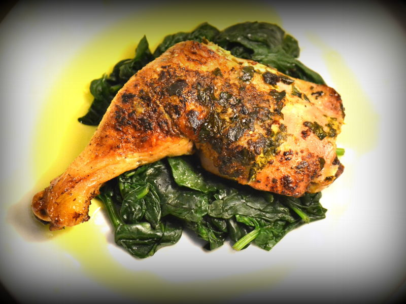 Roasted Chicken on Wilted Spinach